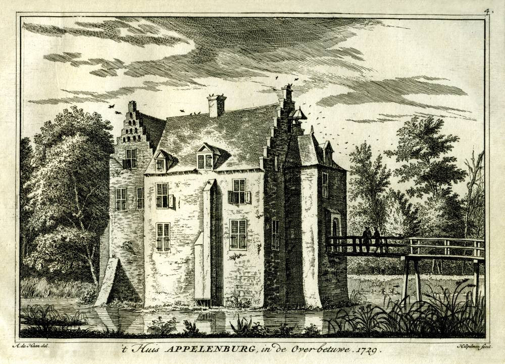 Appelenburg in Ochten. Tekening Abraham de Haen, gravure Hendrik Spilman